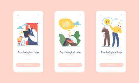 Psychotherapy Helpline, Online Consultation Mobile App Page Onboard Screen Template. Doctor Psychologist Appointment Illusztráció