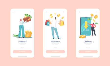 Cash Back Mobile App Page Onboard Screen Template. Happy Characters Getting Money Refund for Shopping and Purchasing