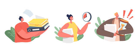 Set of Icons Business Characters Stressed with Urgent Work. Businesswoman with Folder Pointing on Clock, Deadline