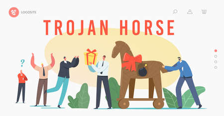 Trojan Horse Landing Page Template. Business Man Character Giving Gift in Shape of Horse with Burning Bomb inside