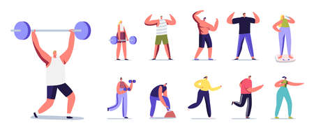 Set of Male and Female Characters Doing Sport. Men or Women Exercising with Barbell, Run, Posing, Show Perfect Body