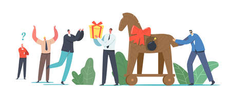 Trojan Horse Concept, Business Man Giving Gift in Shape of Horse with Burning Bomb inside to Colleagues or Competitors Illusztráció