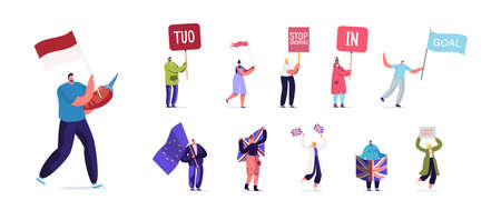 Set People with Different Banners. Male Female Characters Hold Signboard TUO, Stop Snoring, In or Goal, Men and Women Illusztráció
