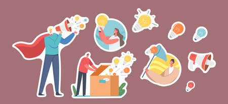 Set Stickers Spread Knowledge Ideas. Male Character Wear Red Superhero Cloak with Loudspeaker, Woman with Light Bulb