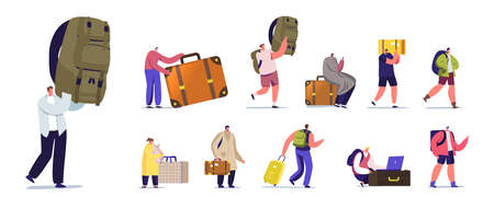 Set Tourists Characters with Luggage. People Go on Summer Time Vacation with Bags, Travel on Resort with Suitcase Illusztráció
