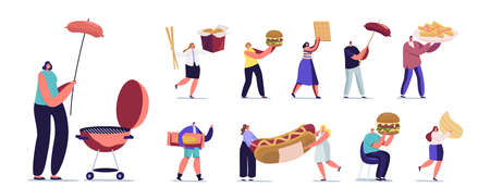 Set of Tiny Male and Female Characters Interacting with Fastfood. Men and Women with Huge Burger, Hot Dog with Mustard Illusztráció