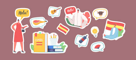 Set of Stickers Characters Learn Spanish Language Course. Woman Say Hola, Man with Flag of Spain, Textbook, Wine Bottle