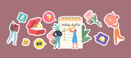 Set of Stickers Couple Planning Wedding, Male and Female Characters at Planner Fill Checklist before Marriage Ceremony