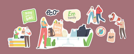 Set of Stickers People Visit Shop with Reusable Eco Bags or Packaging. Male and Female Characters Use Ecological Packing