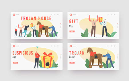 Trojan Horse Landing Page Template Set. Business Man Character Giving Gift in Shape of Horse with Burning Bomb inside