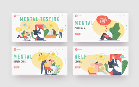 Mental Testing Landing Page Template Set. Psychotherapy Helpline Online Consultation. Depressed Woman and Doctor