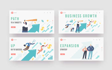 Financial Success, Career Growth Landing Page Template Set. Business People at Huge Rising Arrow Move to Success