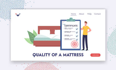 Quality of Mattress Landing Page Template. Man with Huge Certificate in Bedroom with Bed. Tiny Character Choose Mattress