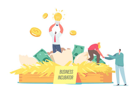 Happy Businesspeople Male and Female Tiny Characters Extract Startup Project from Egg in Business Incubator at Huge Nest