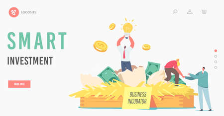 Smart Investment Landing Page Template. Happy Businesspeople Tiny Characters Extract Startup Project from Egg Ilustracje wektorowe
