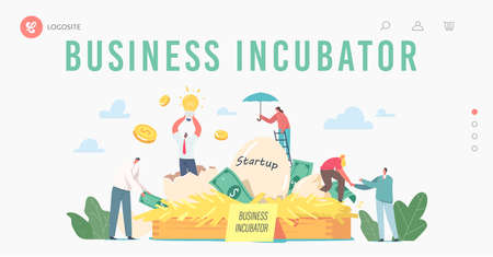 Business Incubator Landing Page Template. Businesspeople Male and Female Tiny Characters Growing Startup Egg in Nest