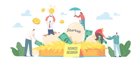 Businesspeople Male and Female Tiny Characters Growing Startup Project Egg in Business Incubator at Huge Nest, Idea