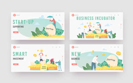 Business Incubator Landing Page Template Set. Businesspeople Male and Female Tiny Characters Growing Startup Egg in Nest