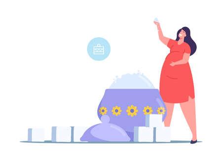 Overdose Glucose Eating Problem, Sugar Consumption, Addiction Concept. Tiny Fat Female Character at Huge Sugar Bowl Ilustração Vetorial