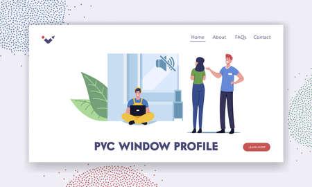 Pvs Window Profile Landing Page Template. Tiny Salesman Character Presenting Huge Soundproof Triple Hermetic Glass