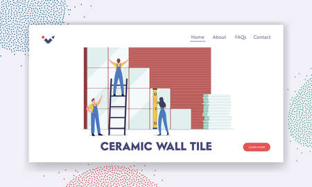 Home Renovation and Construction Works Landing Page Template. Tiny Workers Laying Ceramics on Wall. Professional Tiling