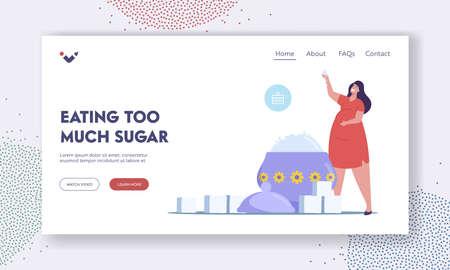Overdose Glucose Eating Problem, Sugar Consumption, Addiction Landing Page Template. Fat Female at Huge Sugar Bowl Ilustração Vetorial