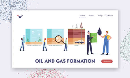 Petroleum Oil and Gas Formation Landing Page Template. Scientists Characters Presenting Time Line of Fossil Sediments Ilustração Vetorial