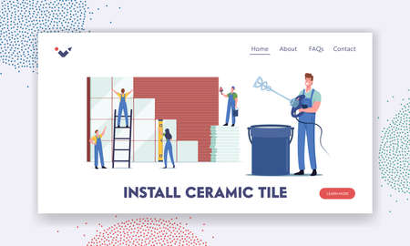 Tiny Workers Characters Laying Huge Ceramic Landing Page Template. Construction and Home Renovation Works