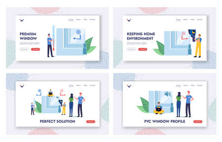 Pvc Window Profile Installation Process Landing Page Template Set. Tiny Characters at Huge Piece of Vinyl Frame