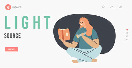 Woman Use Flashlight as Source of Light Landing Page Template. Female Character Reading Book in Darkness Use Flashlight