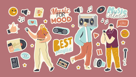 Set of Stickers Playlist for Music Collection Theme. People with Player, Thumb Up, Vinyl and Cd Disk, Dynamics or Player Vector Illustration