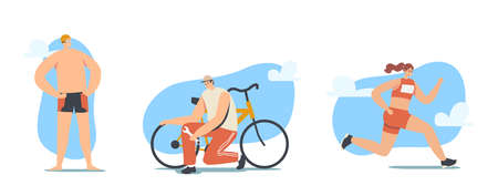 Triathlon Competition Concept. Triathletes Male and Female Characters Running, Cycling and Swimming during Toirnament