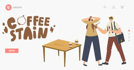 Clumsy Male Character Spill Coffee on Woman T-shirt Put Stains on Clothes Landing Page Template. Clumsiness, Accident