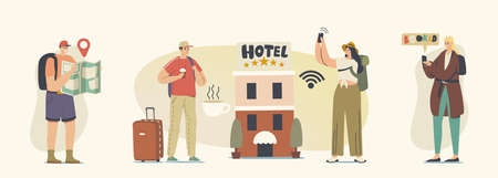 Diverse Young People Check in Five Stars Hotel. Male and Female Tourist Characters Move into Motel for Staying at Night