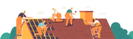 Roof Construction Workers Characters Conduct Roofing Works, Repair Home, Build Structure, Fixing Rooftop Tile House