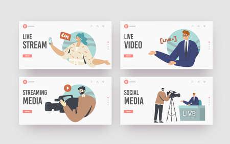 Live Stream, News Landing Page Template Set. Videographer Record Anchorman, Vlogger, Reporter or Journalist Reportage Vektorové ilustrace