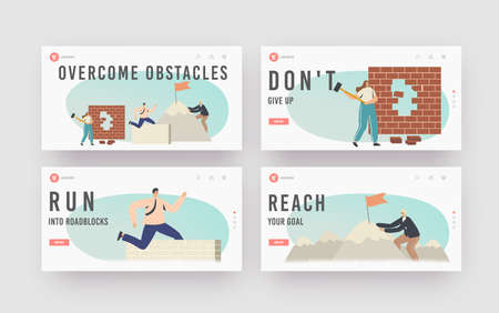 Overcome Obstacles Landing Page Template Set. Characters Developing Skills, Climbing on Rock Peak, Jump Over Barriers