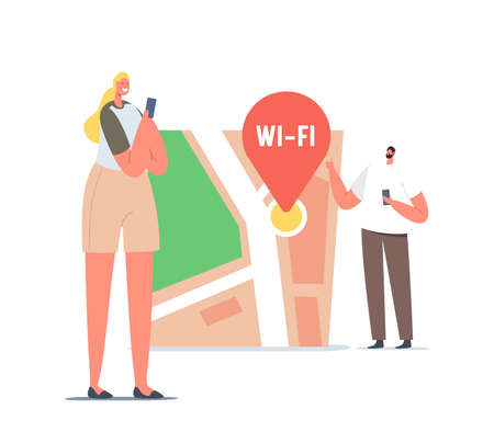 Tiny Male and Female Character with Smartphones at Huge Map with Wifi Pin Finding Correct Way in Big City. Geolocation