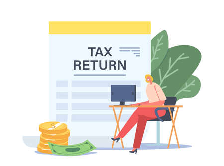Tax Return Concept. Tiny Businesswoman Character Sitting at Workplace Desk with Computer near Huge Taxation Refund Vectores