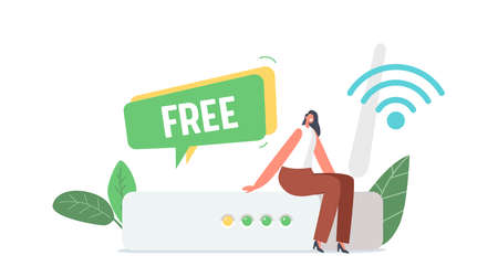 Tiny Female Character Sit at Huge Wifi Router Using Free Wireless Internet Connection. Woman Work, Browsing Social Media