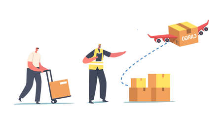 Aircraft Transport Logistics Service, Import or Export of Goods. Loader Characters Loading Boxes for Air Transportation