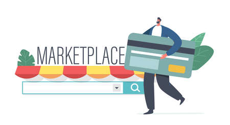 Marketplace Online Shopping, Wireless Payment Concept. Tiny Male Customer Character with Huge Credit Card Buying Goods