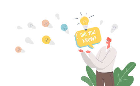 Did You Know Announcement, Man with Speech Bubble and Glowing Light Bulbs Representing Explanation of Interesting Facts Vectores