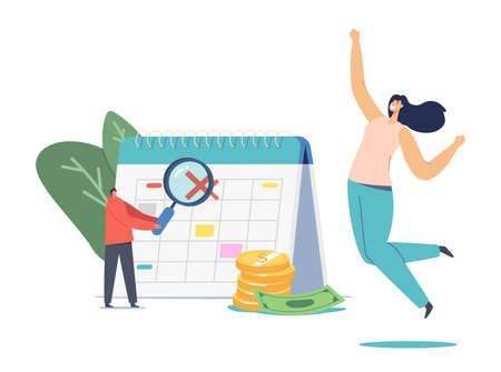 Happy Female Character Jumping at Huge Calendar with Crossed Date. Man with Magnifier and Pile of Golden Coins and Bills