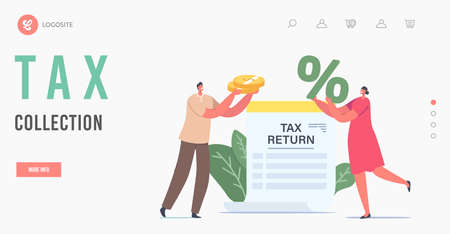 Tax Collection Landing Page Template. Tiny Characters Hold Huge Golden Coins and Percent Symbol at Tax Return Document