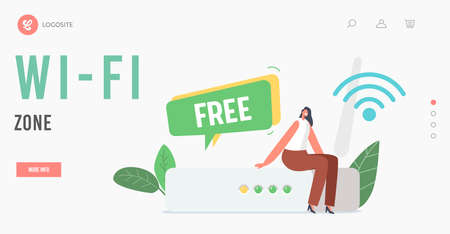 Free WiFi Zone Landing Page Template. Tiny Female Character Sit at Huge Wifi Router with Wireless Internet Connection Vectores