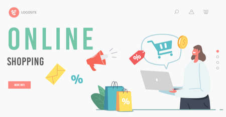 Marketplace, Purchase in One Click, Online Shopping Landing Page Template. Female Character Purchasing via Laptop Vectores