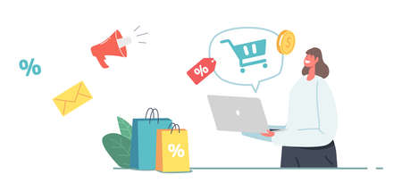 Marketplace, Purchase in One Click, Online Shopping Concept. Female Customer Character with Bags Purchasing via Laptop