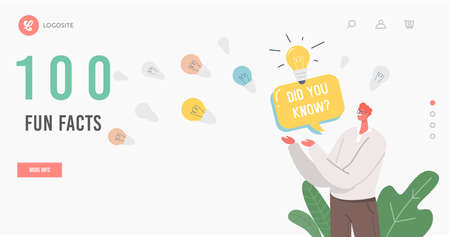 100 fun facts Landing Page Template. Man with Did You Know Speech Bubble and Light Bulbs Representing Interesting Fact Vectores