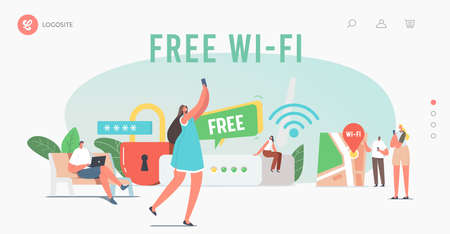 Modern Network Technology, Free Wifi Hotspot Landing Page Template. Tiny Characters at Huge Router use Wifi Internet Vectores